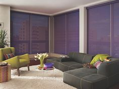 Lime green accents and purple Designer Screen Shades make this room pop. Shades available at Blind Ambitions in Tulsa, OK
