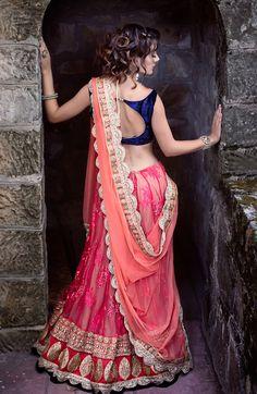 Navy blue and orange indian clothes indian fashion, lehenga dupatt India Fashion, Ethnic Fashion, Asian Fashion, Lehenga Dupatta, Anarkali, Pink Lehenga, Orange Lehenga, Bridal Lehenga, Indian Attire