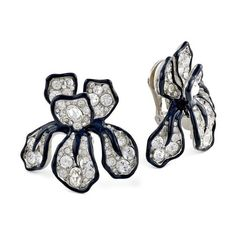 Kenneth Jay Lane Crystal Flower Clip Earring ($150) ❤ liked on Polyvore featuring jewelry, earrings, black, flower jewellery, crystal flower earrings, blossom jewelry, crystal clip earrings and crystal stone jewelry