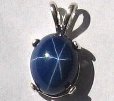 10x8 3ct. Star Sapphire (Lab) Pendant set in Solid 925 Sterling Silver by jpatterson312 on Etsy