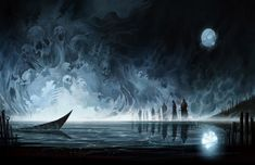 The river styx | The River Styx - souls, dead, skeletons, ferry, river, styx, moon ...
