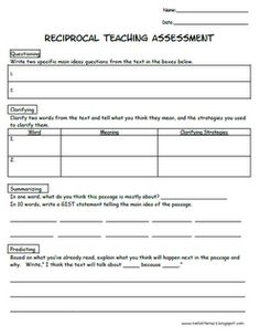 Reciprocal Teaching formative asdrssment...use with ANY text (fiction or informational) $1.00