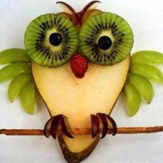 pear owl with kiwi eyes