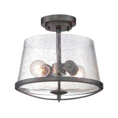 Designers Fountain Darby Weathered Iron Semi-Flushmount Light | 87011-WI | Destination Lighting