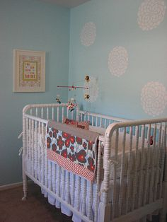 Gorgeous soft blue for baby girl & I like the stencil idea too