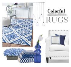 """""""Blue&White - colorful rugs"""" by groove-muffin ❤ liked on Polyvore featuring interior, interiors, interior design, home, home decor, interior decorating, CB2, Baxton Studio, nuLOOM and Cultural Intrigue"""