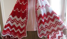 """The Many Faces of """" Candy  Cane """"!   I decided to stop at the simple border/edging on my latest Christmas crocheted throw """"Candy Cane""""...."""