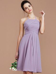 309406b575b A-Line/Princess Halter Sleeveless Ruched Short/Mini Chiffon Bridesmaid  Dresses