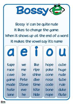 Simple posters, in blue colour way, with a rhyme describing magic 'e' and, the alternative term used in some schools, bossy 'e'. Clearly laid out with examples for each vowel. Available in a choice of fonts.:
