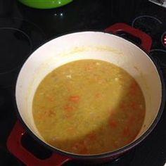 Egyptian Lentil Soup- pretty tasty and satisfying.  I had to thicken it with cornstarch though as it was too watery.  Used vegetarian chicken seasoning.  If I made it again, I wouldn't blend all the lentils.