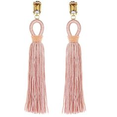 Oscar de la Renta Soft Petal Long Silk Tassel Earrings ($425) ❤ liked on Polyvore featuring jewelry, earrings, long clip earrings, nickel free earrings, oscar de la renta earrings, long earrings and lightweight earrings