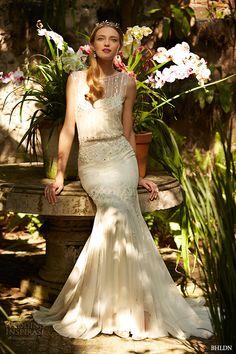 bhldn spring 2015 bridal sleeveless sheer bateau neckline v back ivory trumpet wedding dress magnolia