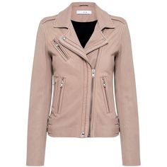 Iro - Han Lambskin Leather Biker Jacket ($1,195) ❤ liked on Polyvore featuring outerwear, jackets, lambskin leather jackets, slim motorcycle jacket, brown moto jacket, slim fit biker jacket and iro jacket