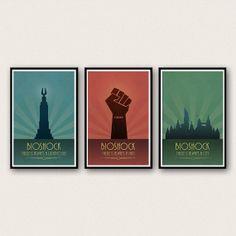 Bioshock-inspired poster set (lighthouse, man, & city)