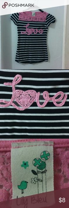 Lily Bleu love tee Striped/lace tee for an extra touch. In good condition, no rips or stains. Slim fit. Lily Bleu Shirts & Tops Tees - Short Sleeve