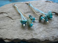 Cute turquoise (dyed howlite) and blue Czech glass earrings on cotton cord. Nickel-free hooks (ER42). By FeekoByDesign, $7.00