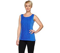 Susan Graver Liquid Knit Scoop Neck Tank with Lace Overlay