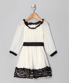 Cream Ruffle Hem Belted Dress - GIrls