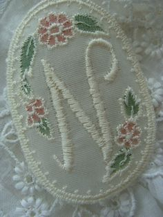 Vintage Victorian Lace Embroidered Monogram Calligraphy Letter N Framed with Flowers
