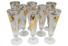 Gold Leaf Cocktail Flutes, S/8