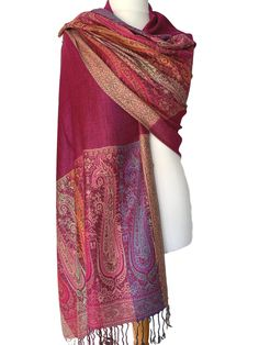 Large patterned pashmina wrap / oversized scarf with tassel trim to the ends Excellent quality fabric it drapes and falls beautifully large enough to Pashmina Wrap, Prom Accessories, Fashion Accessories, Cerise Pink, Prom Outfits, Oversized Scarf, Long Scarf, Free Uk