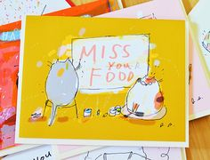 Miss You Card  Funny Cat Card  Card from the Cat  by jamieshelman