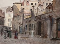 Jansa Painting of Cervena Street, Jewish Town Jewish Ghetto, Exotic Art, Fantasy City, Prague Czech, Old Paintings, More Pictures, Urban Art, Old Houses, 19th Century