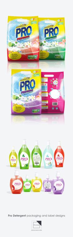 Pro detergent packaging and label designs on Behance
