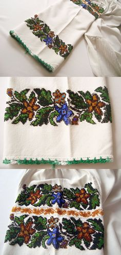 Beautiful Beaded Blouse - Antique Ukrainian Ethnic Costume Blouse hand beaded with small colorful beads and hand crocheted green trim. $240.00, via Etsy.