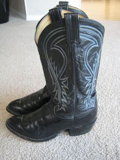 Tony Lama Black Leather Cowboy Boots Mens Size 7.5EE #TonyLama #CowboyWestern