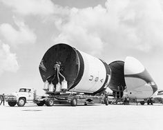 The second stage of the Saturn 205 vehicle, to be used on Apollo 7, arrives at Cape Canaveral Air Force Station aboard the Super Guppy aircraft on Sunday, April 7, 1968. (Source: NASA)