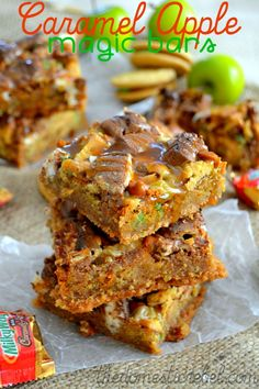 Caramel Apple Magic Bars! Fantastically gooey bars with a hint of tart green apple and loads of buttery, rich caramel!