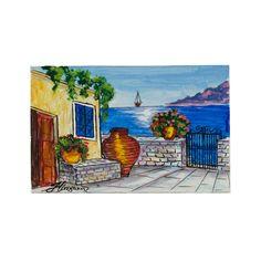 (Ελληνικά) Χειροποίητος πίνακας ζωγραφικής με τοπίο πάνω σε ξύλο ζωγραφισμένο με λαδομπογιάδες Under Construction, Greek, Museum, Paintings, World, Places, Handmade, Beauty, Art