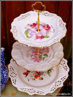 Wedding cream lace three tier reticulated floral plates handmade cake stand Royal Creamware, Crown Davenport, flower waltz tiered dishes set – Famous Last Words Wild Poppies, Wild Flowers, Oriental Lily, Purple Wedding Cakes, Large Plates, Plate Stands, China Plates, Dish Sets, Etsy Shop