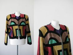 80s vintage colorblock suede cropped leather by prvtcollection, $94.00