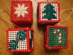 Christmas ornaments made from plastic canvas and filled with potporri. Made these when I was little can't wait for Makenna to make them!