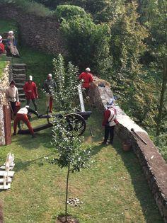 Reenactment at Castle Malesov, Kutna Hora, Czech Republic. September 2, 2012. Cannon demonstration.