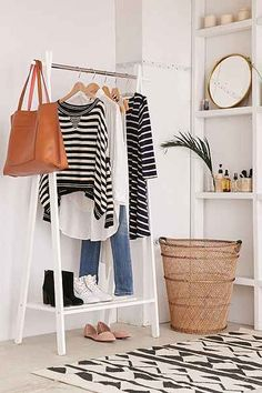 """98 34.25""""l x 16.92""""w x 62.59""""h Wooden Clothing Rack - Urban Outfitters"""