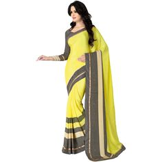 Buy Go Desi Yellow Chiffon Saree by Go Desi, on Paytm, Price: Rs.779?utm_medium=pintrest