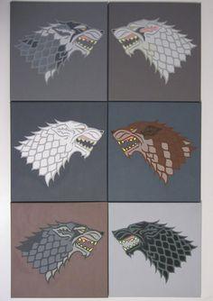 The Stark direwolves: Greywind, Lady, Ghost, Summer, Nymeria and Shaggydog