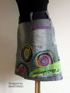 Crazy Patchwork Skirt Appliqued Denim Upcycled Clothing Denim Recycled Boho Skirt Gypsy Style Embroidered Skirt I designed and constructed this Denim Patchwork Skirt. I used techniques as sewing and applique. This boho hippie skirt can be weared on special occasions or when you want to feel good and one of a kind.  . Length -about 50 cm/ 39 inches  Waistline - 74 cm/ 29 inches  Hips - max 100 cm/ 39 inches I used stretchy denim cotton.  Mashine wash.  All my items are ready to ship within…
