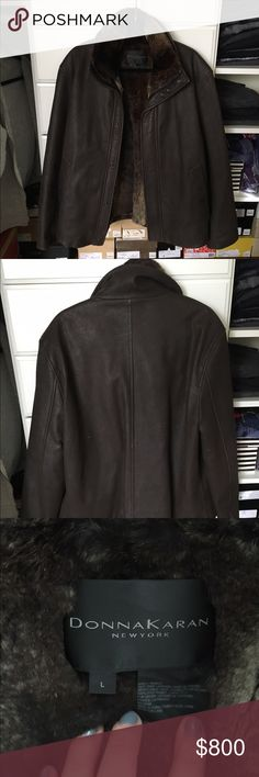 Men's Donna Karen Leather Jacket Previously worn leather jacket with 100% lined rabbit fur that is removable. In excellent condition! Perfect for winter or fall! Open to reasonable offers through feature! Any questions please ask! Donna Karen Jackets & Coats