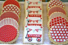 Red Wagon Baby Shower | The 'sweets' table took the cake. LITERALLY. It was filled with all ...