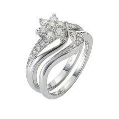 9ct White Gold Half Carat Diamond Daisy Bridal Ring Set - Product number 8455473