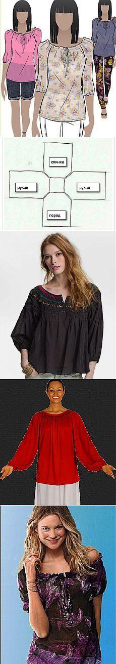 Блуза - крестьянка за 30 минут. МК.