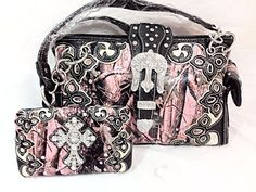 Handbag Purse & Wallet Set Gun Conceal Cross Western Rhinestone Pink Camo Carry #fashion #ShoulderBag