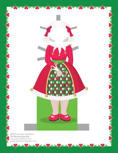 Paper Doll School: December Paper Doll -- Mrs Claus Paper Doll, Outfit 2