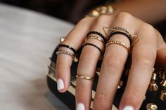 Stacked rings done right. Like the white nails too