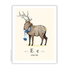 E fror Elk, nursery French alphabet print Elk by joojoo on Etsy