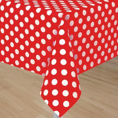 Red Tablecover With White Polka Dots